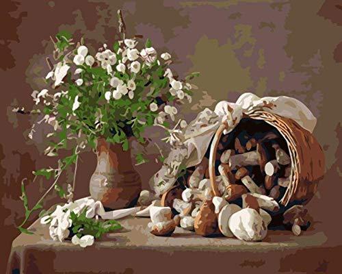 LZTTDMG Grüne weiße Pflanzenblume, Malen Nach Zahlen Erwachsene DIY Ölgemälde Kits für Erwachsene Kinder und Anfänger Geschenk Vorgedruckt Leinwand Set mit Pinsel und Acrylfarben 40x50 cm Ohne Rahmen