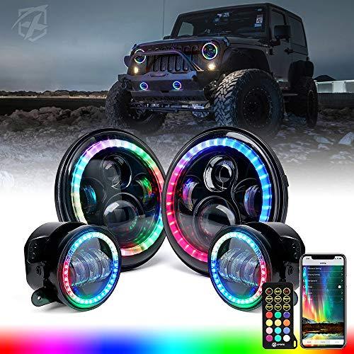 Xprite 7  Inch Dancing LED Headlights & 4  Fog Lights Combo with RGB Halo Angel Eye Headlamp Assembly Bluetooth & IR Controlled RGB Light Kits Compatible with 2007-2018 Jeep Wrangler JK JKU