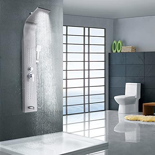 CosHall 5 in1 Duschpaneel Turmsystem, Duschpaneel Armatur,Hand und Wasserfallwannenauslauf, Duschturmsystem mit Temperatur Handbrause für die Split Dusche des Home Hotel Resort Silber