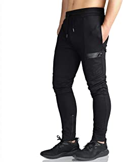 Mens Gym Jogger Pants Training Workout Slim fit Sweatpants Causal Leg Zipper