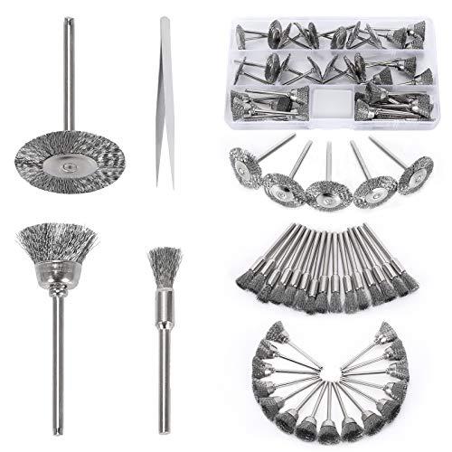 FOGAWA 46 Stück Drahtbürsten Set für Bohrmaschine Edelstahl Scheibenbürste Zylinderbürste Topfbürste mit Pinzette für 3mm Rotationswerkzeuge Pinselbürste zum Reinigung Polieren