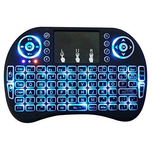 Heypex Portable Multi-Functional Mini Wireless Keyboard & Mouse Comes with Touchpad with Backlight   Smart Function for Smart Tv, Android Tv Box, Raspberry-Pi, Android & iOS Devices (Black)