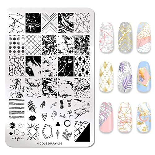 Fayella Nail Stamping Plate Animal Flower Palm Tree Stamp Image Templates Printer Nail Art Stencil Plate Nails Tool,46780