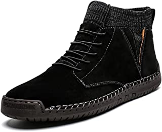 JIANFEI LIANG Men's Combat Boot High Top Boots Lace up Suede Anti Slip Soft Knit Sock Shoes Stitching Warmth Outdoor Flats Work or Casual Wear (Fleece Inside Option) (Color : Black, Size : 48 EU)