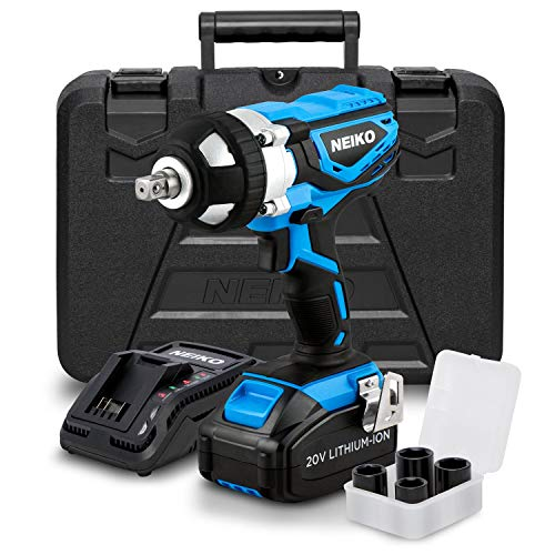 Neiko 10878A 20 V Lithium-Ion Cordless Impact Wrench with Li-Ion Battery, Fast Charger and 1/2-Inch Square Drive