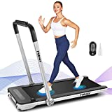 Under Desk Treadmill for Home,2 in 1 Folding Treadmill Machine with LED Display, Remote Control and Bluetooth Speaker, New for 2020, Installation-Free (Silver)