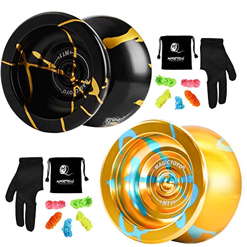 MAGICYOYO N11 Unresponsive Yoyo Alloy Aluminum YoYo Professional Ball with 2 Bags, 2 Gloves and 10...