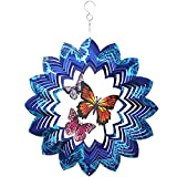 Butterfly Wind Spinners Outdoor Metal,Kinetic Blue Hanging Spinner Indoor Decor,3D Wind Spinner Porch Ornament Art,12 Inch Craft Spinner for Yard Garden Gifts,Wind Catchers & Spinners Home Decorations