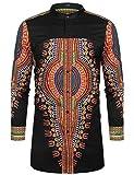 COOFANDY Men's African Dashiki Print Shirt Long Sleeve Button Down Shirt Bright Color Tribal Top Shirt Black