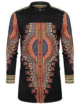 COOFANDY Men s African Dashiki Print Shirt Long Sleeve Button Down Shirt Bright Color Tribal Top Shirt Black