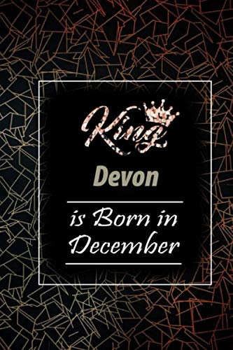 King Devon is Born in November: Lovely Personalized Name Journal, '6x9' in Lined College Rulled Notebook saying Gift For Thanksgiving and Christmas