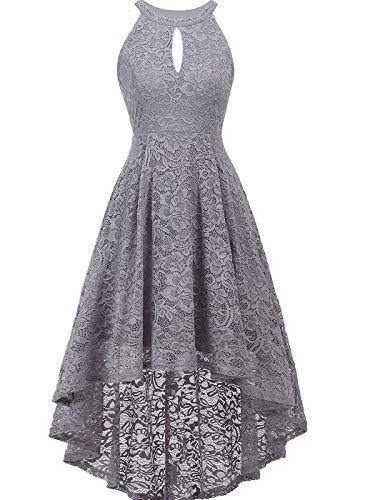 FAIRY COUPLE Women's Vintage Floral Lace Hi-Lo Sleeveless Cocktail Formal Swing Dress XL Grey