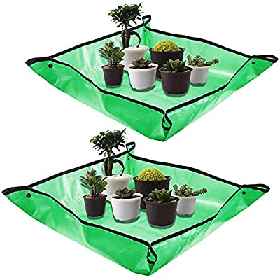 2Pack Plant Repotting Square Mats,39.3Inch Foldable Garden Transplanting Work Cloth,Waterproof Oxford and PVC Dirty Catcher Gardening Succulent Potting Tarp for Indoor Bonsai Succulents Plant Care