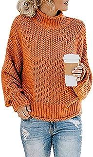 ZZMWLES Mujer Que Hace Punto Superiores sin Forro de Plomo de Alta Manga del suéter de la Cabeza Femenina de Las Mujeres s...