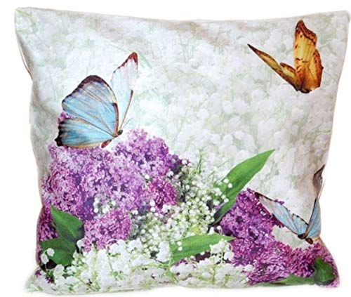 Kissenhülle 40x40 cm Soft Touch Dekokissen Flieder Schmetterling Kissenbezug Kissen Frühling