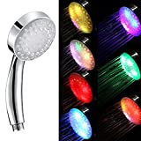 EZSTAX Rainbow 7 Color Changing LED Light Showerhead Handheld for Bathroom Water Powered