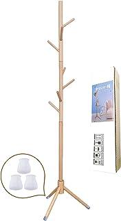 ポールハンガー 木製 コートハンガー ぽーるはんがー ハンガーラック スリム かばんかけ コート掛け バッグ掛け 玄関ハンガー 帽子掛けスタンド 天然木 高さ172cm 枝型設計 組立て簡単 安定感が抜群