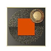 キャンバスに印刷、抽象的なオレンジ色のキャンバスプリント絵画ゴールドフォイル幾何学的な色ポスター壁の写真キャンバスにフレームなし