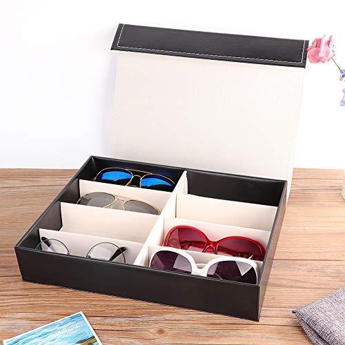 Haowecib Organizador de Gafas, 12,6 x 9,4 x 2,2 Pulgadas Elegante Caja de presentación de Gafas de 8 Rejillas con Forro de Tela Suave para organizar y exhibir Gafas de Sol