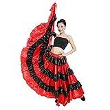 Mcaishen Falda De Baile para Mujer Falda De Baile Taurino Español Falda De Baile Grande De Danza del Vientre De 90 Cm Adecuada para Trajes De Vestuario Escénico(One Size,180°)
