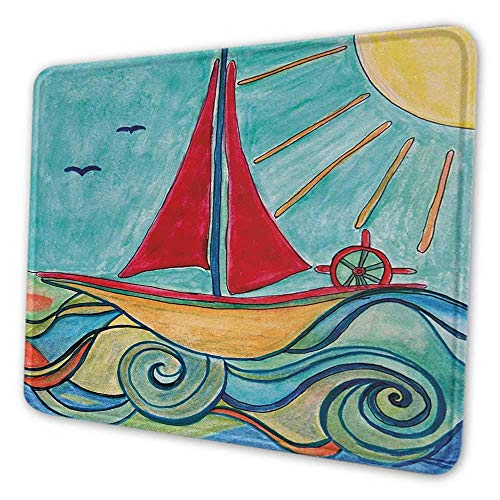 Kunst DIY Mauspad Baby Boy Gemälde Schiff in den Wellen des Ozeans Sonne Kinder Mädchen Kinderzimmer Bild Einzigartige gedruckte Schreibtisch Pad Teal Red Earth Yellow
