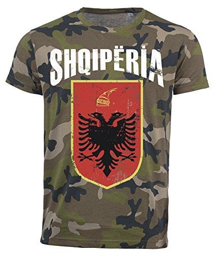 T-Shirt Albanien Camouflage Army WM 2018 .- Vintage Destroy Wappen D01 (XL)