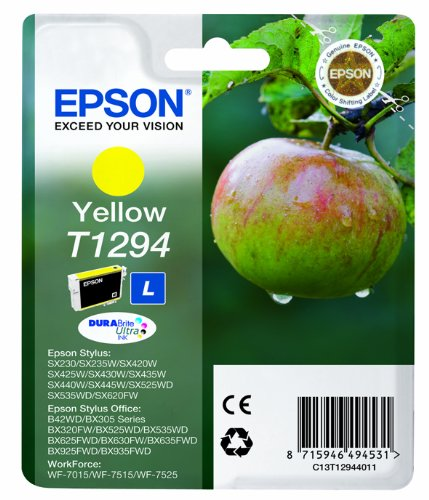 Epson C13T12944011 - Cartucho de tinta, amarillo válido para los modelos WorkForce, Stylus y Stylus Office BX935FWD, BX925FWD, BX635FWD, BX630FW y otros, Ya disponible en Amazon Dash Replenishment
