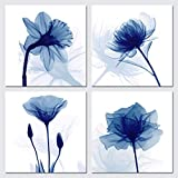 Wieco Art Blaues flackerndes Blumendesign, moderne