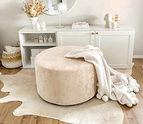 Amaris Elements | Fußhocker 'James' XL 80xH45cm groß Samt beige/Creme Polsterhocker rund Samthocker Fußhocker