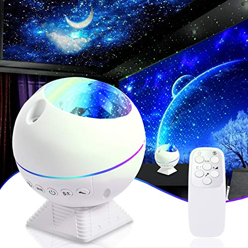 TYCOLIT Sternenhimmel Projektor Lampe LED Nachtlicht mit Fernbedienung, Einstellbare Helligkeit, Sterne, Mond, Wolken, Mini Starry Projektor Für Party, Auto, Schlafzimmer Erwachsene Kinder