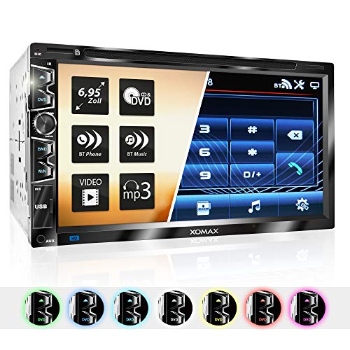 """XOMAX XM-2D6907 Autoradio mit Mirrorlink für Android I kapazitiver 6,9\"""" / 17,5 cm Touchscreen Bildschirm I DVD, CD, USB, SD, AUX I Bluetooth Freisprecheinrichtung I 2 DIN"""