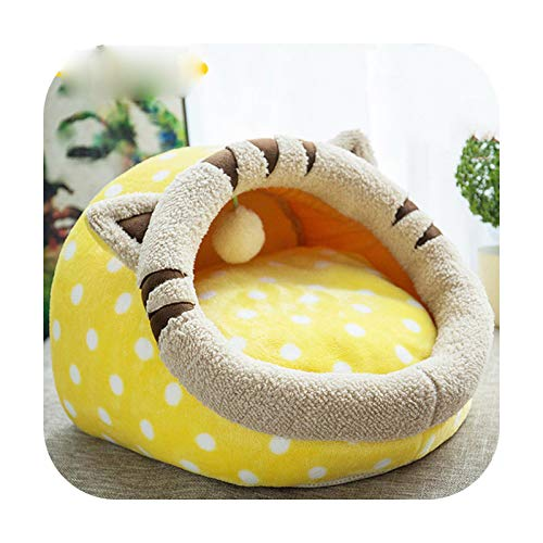 Cama de gato extraíble para casa de perrera nido para mascotas nido de arena para perros sofá casa cojín animales suministros gato mascotas productos gatito cama-amarillo M