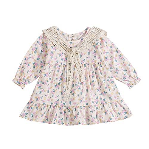 Siyova Vestido de bebé de manga larga con estampado floral completo para niña, 2 piezas, vestido ancho + chal de encaje vestido de princesa otoño primaveral, violeta, 18-24 Meses