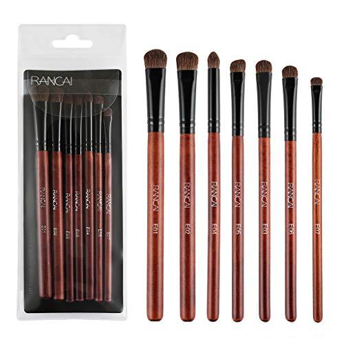Fhuuly 7 Pinceaux de Maquillage, Pinceaux à Paupières, Ensemble Complet de Maquillage pour les Yeux, Outils de Beauté, Pointe en Acajou