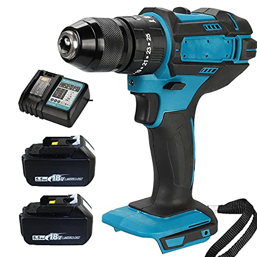 Cordless Impact Hammer Drill Variable Speed 1/2'' Brushless LED Light with 2 Batteries & 1 Charger for 18V Battery DHP484Z