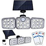 Solar Motion Lights Outdoor, 138 LED with Remote Control, 16.4Ft Cable, 3 Working Mode, Adjustable Solar Panel, IP65 Waterproof Security Lights Wired Flood Lights for Backyard Garage Wall(2 Set/5500K)