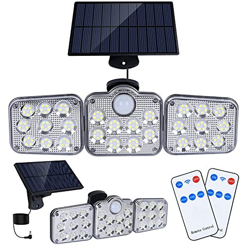 Solar Motion Lights Outdoor, 138 LED with Remote Control, 16.4Ft Cable, 3 Working Mode, Adjustable Solar Panel, IP65 Waterproof Security Lights Wired Flood Lights for Backyard Garage Wall(2 PCS/5500K)