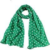 St. Patrick's Day Long Scarf Light Green Women Polka Dot Neckwrap Girl Polyester Oblong