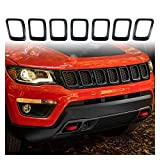 Prospective 7 unids Frontal Grille Cubierta de la Parrilla Anillo de la Parrilla Inserciones Frame Torts Kit Fit para 2017-2019 Jeep Compass Accesorios DE Coches (Color : Black)