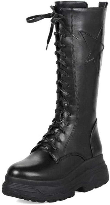 T-JULY Women's Mid Calf Boots Winter Warm Fur shoes Gladiator Wedge Boots Cross Strap Zipper Platform shoes