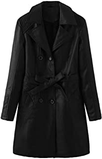 Lataw Fashion Winter Coats for Women's Long Jacket Warm Faux Leather Buttons Overcoat Outwear Pullover Tops Clothes