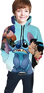 guoweiweiB Sudadera Juvenil con Capucha Lilo and Stitch Teen Boy Girl Hooded Sweatshirt Soft Pullover Magical Cute Hoodie