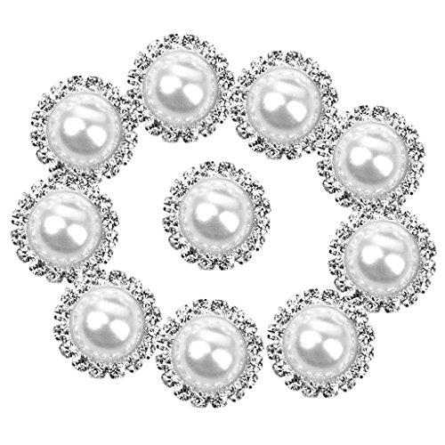 Kunstperle mit Strassstein, 15 mm, rund, mit flacher, klebender Rückseite, Weiß, 10 Stück