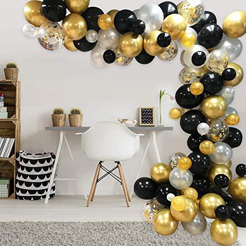 AivaToba Luftballons Schwarz Gold Weiß, Ballon Girlande Kit Schwarz Gold Weiß Ballons Arch für Damen Herren Geburtstag Deko, Deko Silvester 2020, Graduierung,Abschluss Halloween Party
