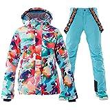 Women's Ski Jackets and Pants Set Ski Suit Women Waterproof Windproof Insulated Hoodie