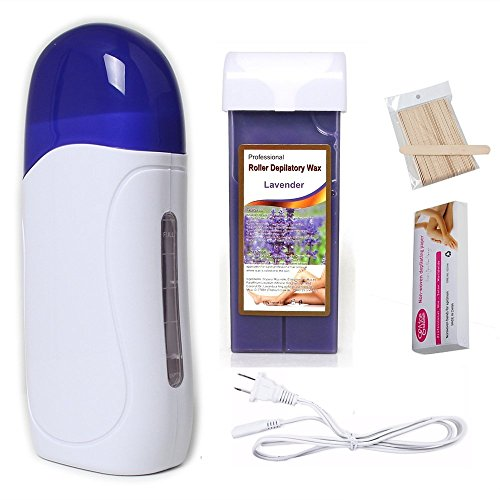 Pinkiou Wax Hair Removal Portable Hair Roller Epilator Machine Set, Wax Heater Machine 1,Depilation wax 1, Strips 100, Depilatory sticks 50 (lavender)