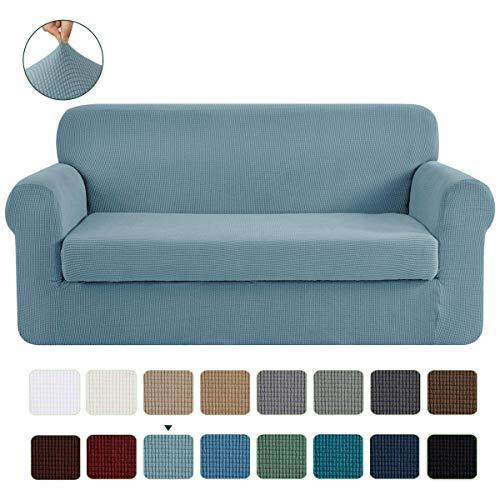 CHUN YI 2-Stück Jacquard Sofaüberwurf, Sofaüberzug, Sofahusse, Sofabezug für Sofa, Couch, Sessel, mehrere Farben (Himmelblau, 3-Sitzer)