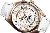 【JMW TOKYO】腕時計 メンズ ホワイト & ゴールド上級「ムーンフェイズ 」本革ベルト ローマ数字 インデックス 100m 防水 タキメーター 腕時計 (ムーブメント シチズン製)【世界限定300本】