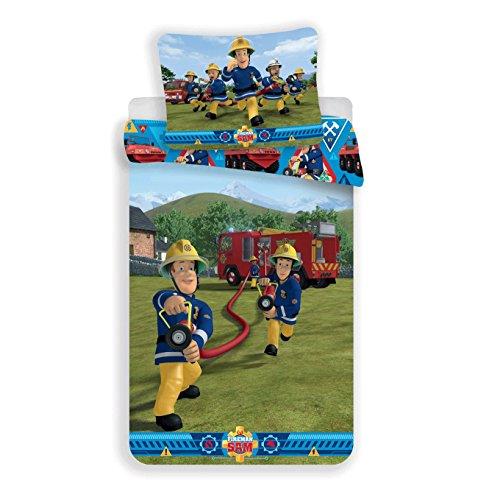 Jerry Fabrics Sängkläder för barn täcke set påslakan och örngott, bomull, brandman Sam 1, 200 x 140 x 0,5 cm