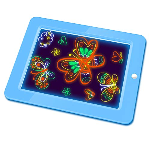 Hzran Crazy Disco Glow Board-Magic Drawing Board - Writing Maker -Learning, Create, Art Tablet-Musical Light Up Tracing Pad for Kids, Gift for Kids, Blue